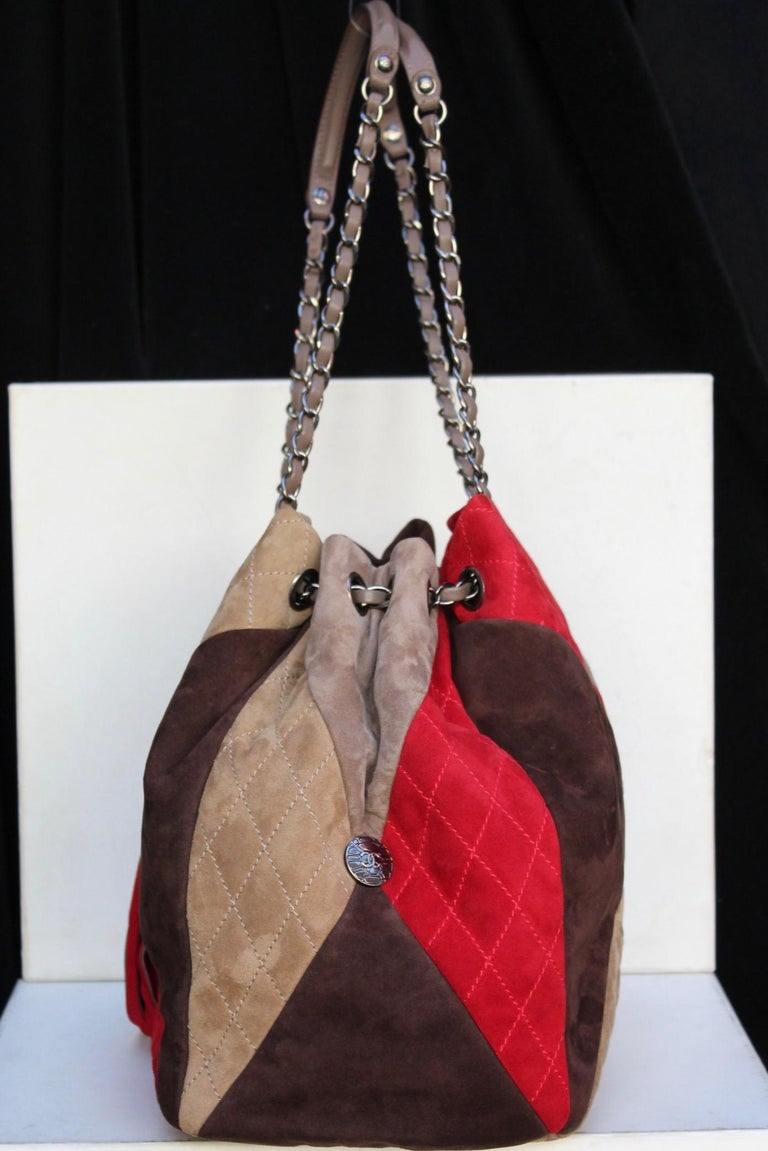 28f7f06dfecc Chanel large suede patchwork tote bag in beige, brown and red colors ...