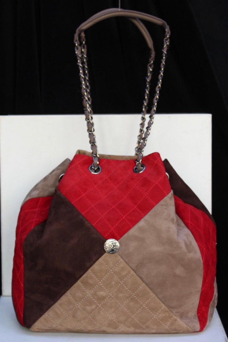 754e0b507857 Brown Chanel large suede patchwork tote bag in beige, brown and red colors  For Sale