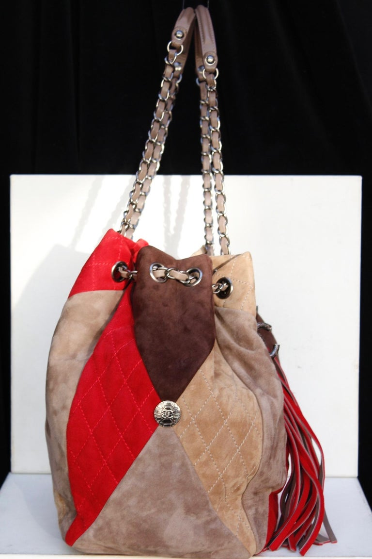 38aaaaf8817c Chanel large suede patchwork tote bag in beige, brown and red colors In  Good Condition