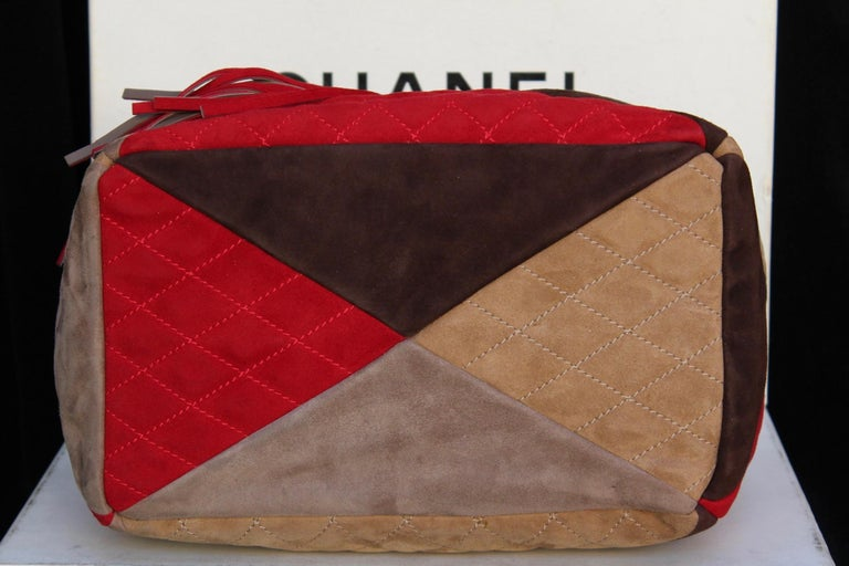 3af25a497763 Women's Chanel large suede patchwork tote bag in beige, brown and red  colors For Sale