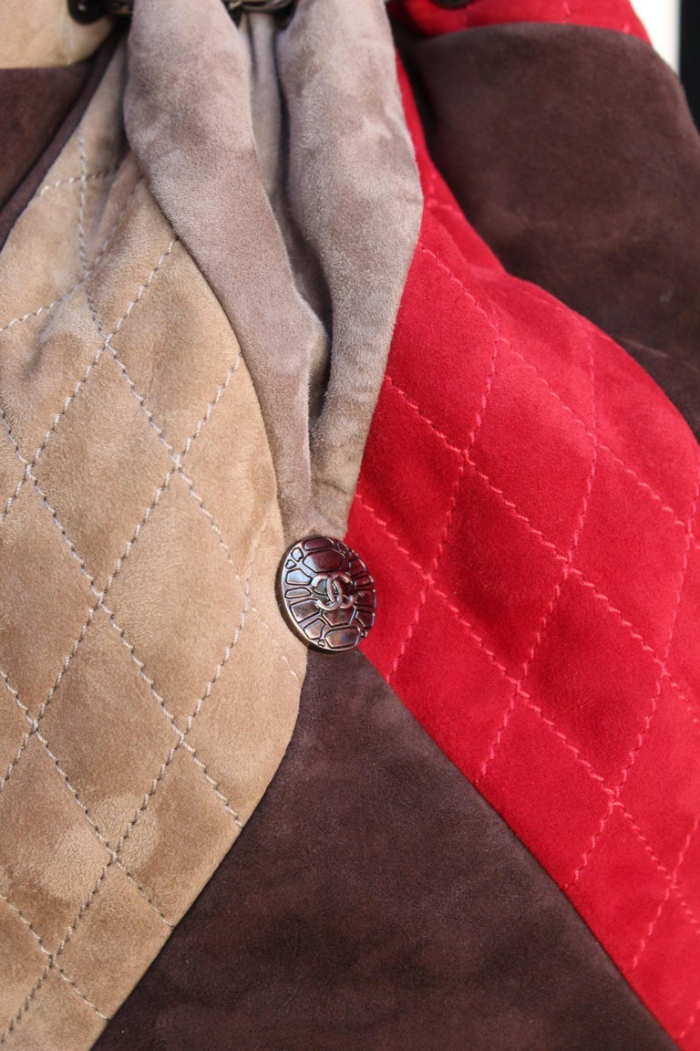 8f754da300d1 Chanel large suede patchwork tote bag in beige, brown and red colors For  Sale 3