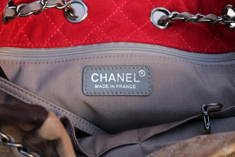07e284af92d9 Chanel large suede patchwork tote bag in beige, brown and red colors For  Sale 4