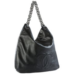 Chanel Large Thick Chain Lambskin Leather Shoulder Bag Tote VIntage