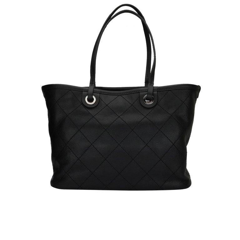 3756d264f856 CHANEL Large Tote Black Caviar with Silver Hardware 2014 For Sale. Authentic  ...