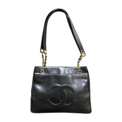 Chanel Large Vintage Black Leather Shopping Bag w Large CC Logo & Gold Hardware