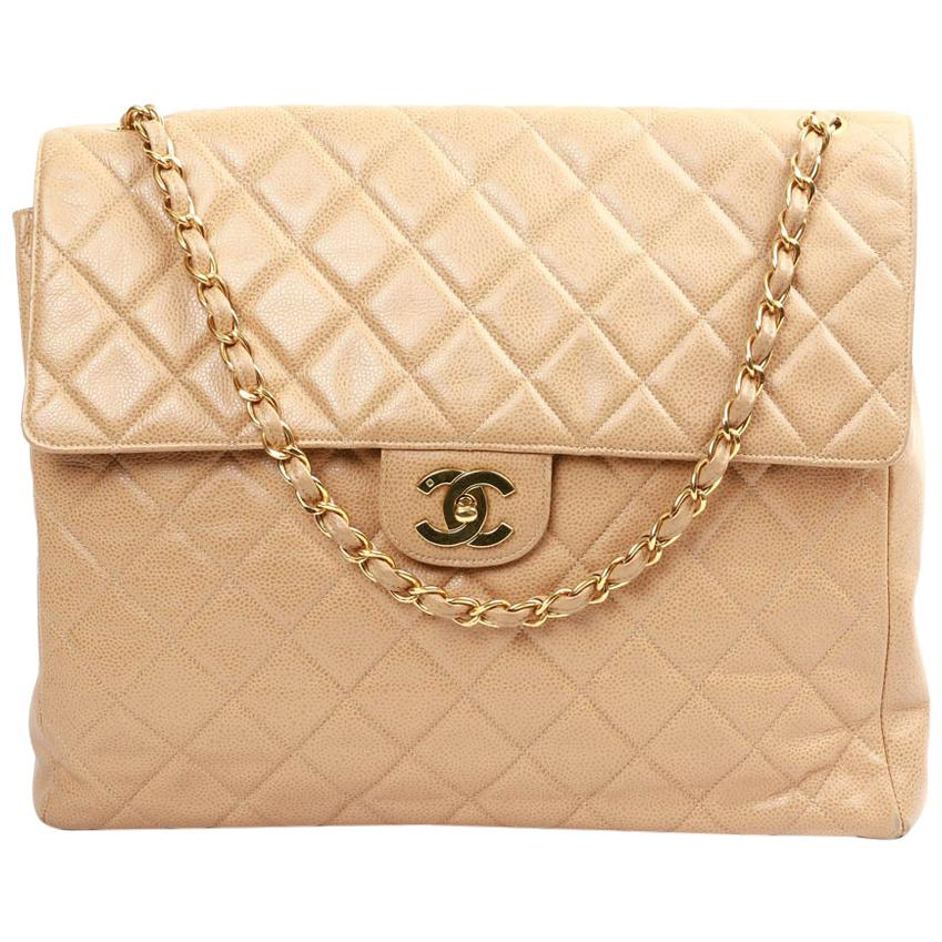 CHANEL Large Vintage Tote Bag In Beige Quilted Leather