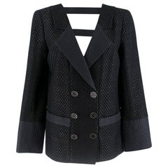 Chanel Lattice Cut-Out Double Breasted Jacket SIZE S
