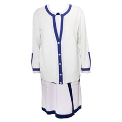 Chanel Lavender Cashmere Dress With Blue Trim & Ivory Long sleeve Cardigan
