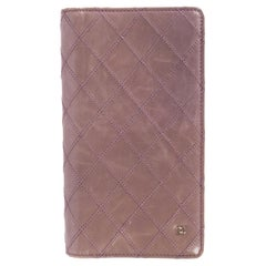 CHANEL lavender QUILTED leather Long Flap Wallet