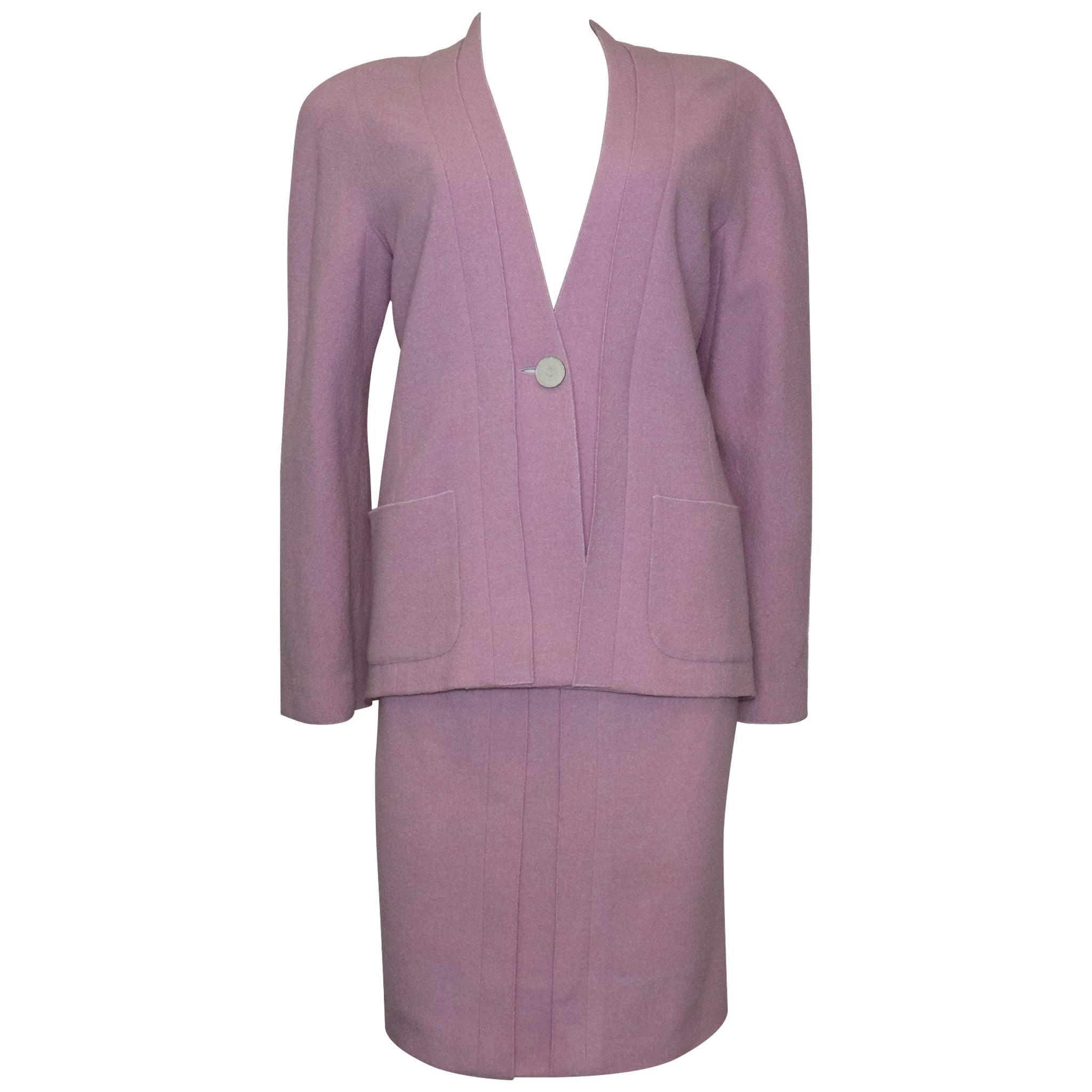 Chanel Lavender Wool Jacket & Skirt Set Circa 1990s