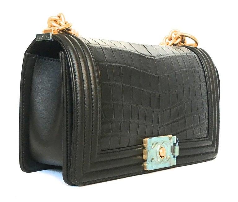 Chanel Le Boy Matte Black Alligator Medium Bag Very Rare New In New Condition For Sale In Miami, FL