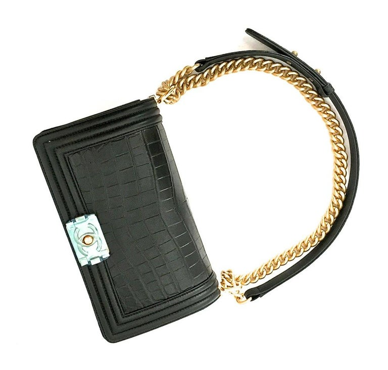 Women's Chanel Le Boy Matte Black Alligator Medium Bag Very Rare New For Sale