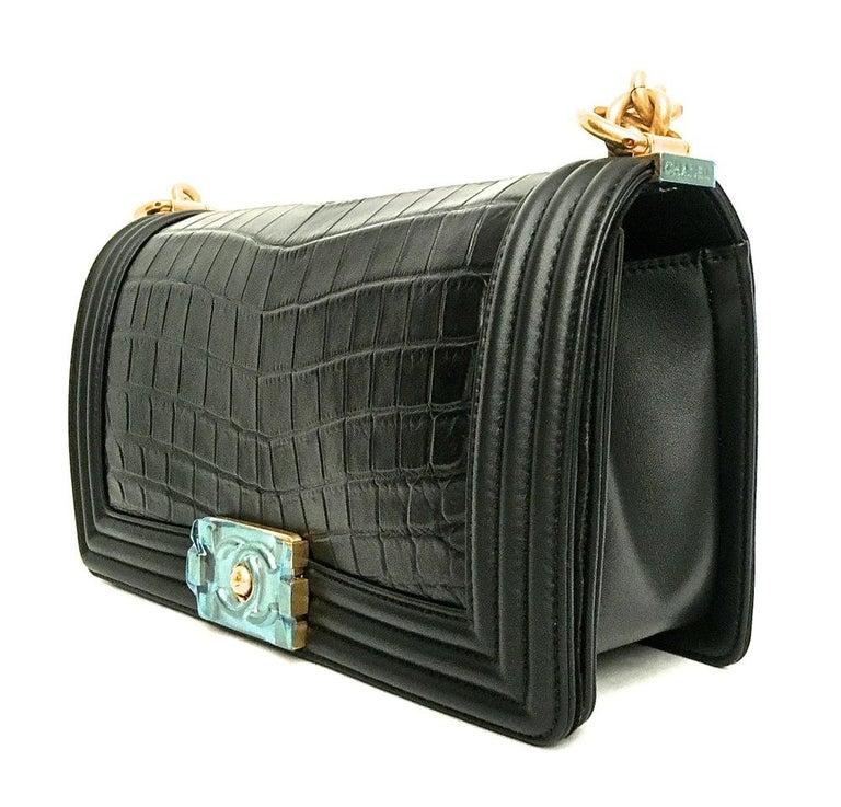 Chanel Le Boy Matte Black Alligator Medium Bag Very Rare New For Sale 1