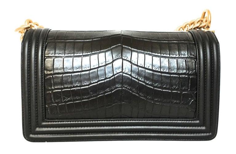 Chanel Le Boy Matte Black Alligator Medium Bag Very Rare New For Sale 4