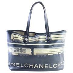 Chanel Le Train Shopper 28cr0618 Black Coated Canvas Tote
