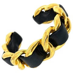 CHANEL Leather And Gold Chain Bracelet