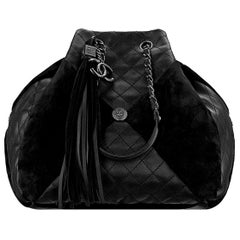 Chanel Leather and Suede Patchwork Drawstring Bag