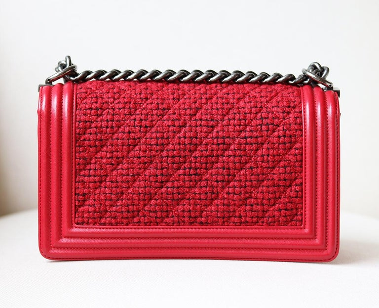 Women's Chanel Leather and Tweed Boy Flap Bag  For Sale