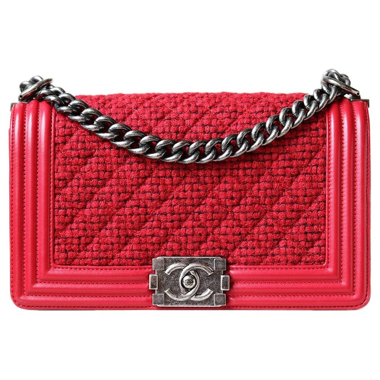 Chanel Leather and Tweed Boy Flap Bag  For Sale