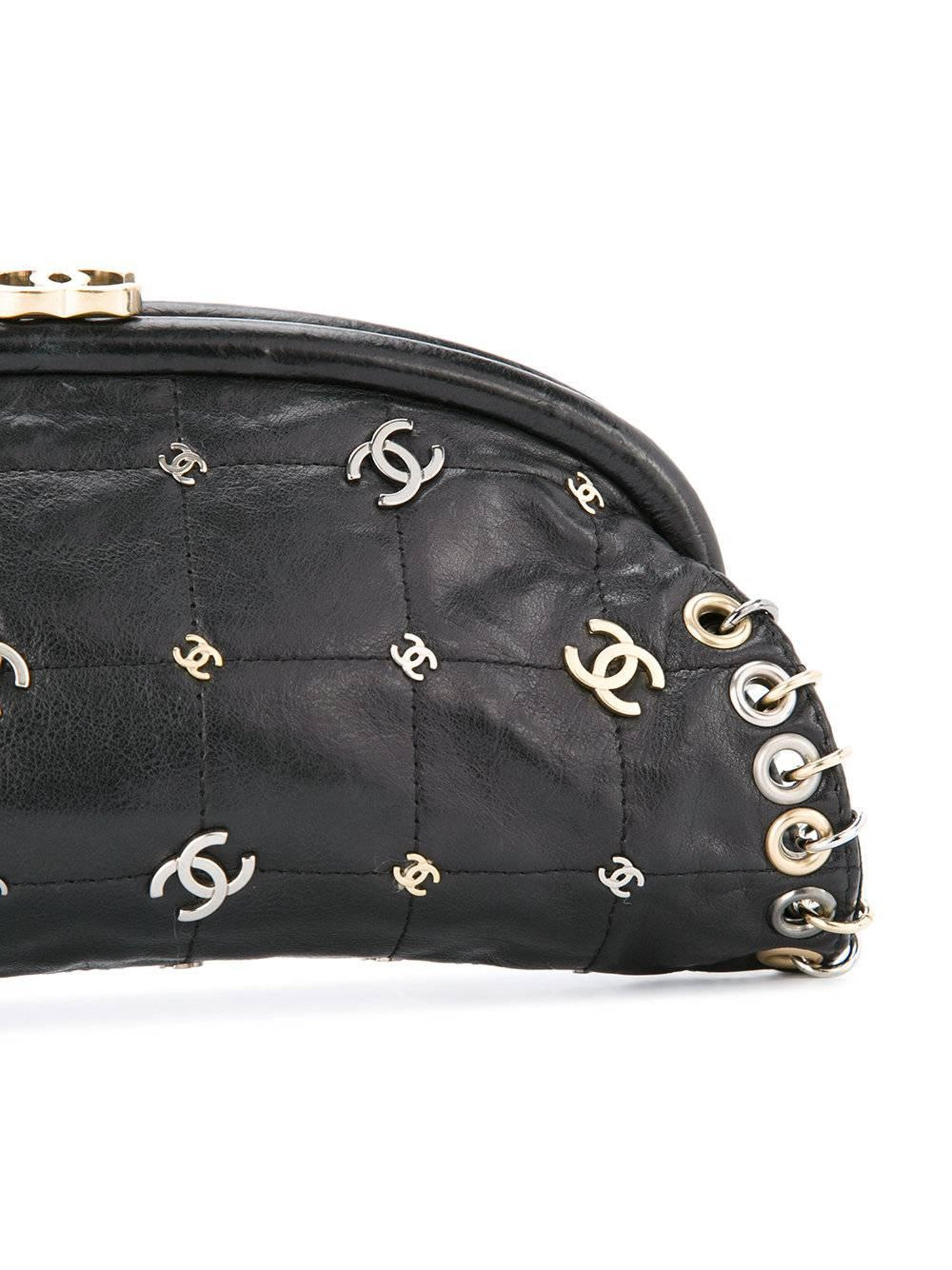 7959ccd6d971 Chanel Leather Mixed Metal Gold Silver Charm Kisslock Evening Clutch Bag  For Sale at 1stdibs