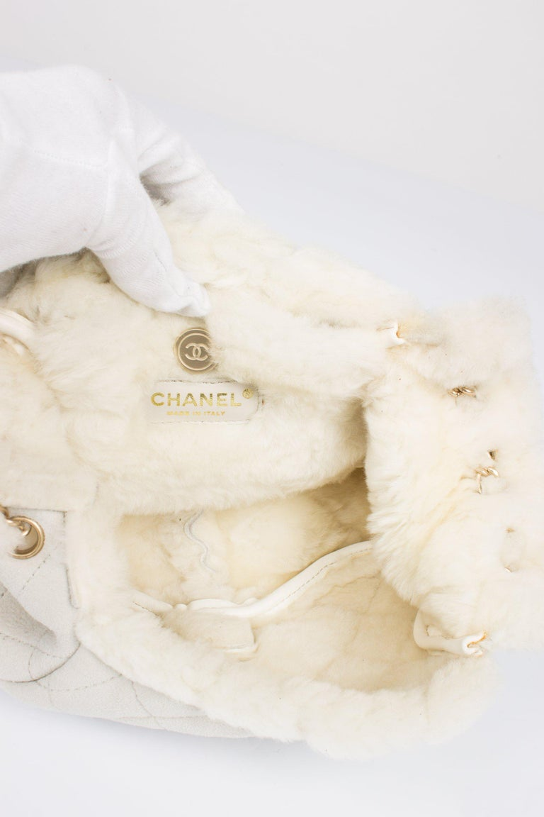 Women's Chanel Leather & Shearling Quilted Bag - off-white