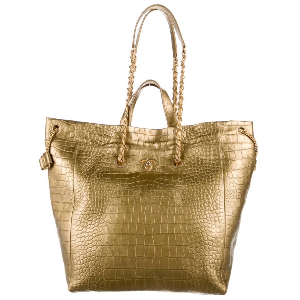 Chanel Leather Snake Exotic Print Gold Carryall Top Handle Shoulder Tote Bag