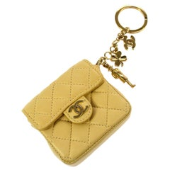 Chanel Leather Tan Nude Charm Belt Party Micro Mini Chain Flap Bag