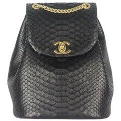 Chanel Leather Trimmed Python Backpack