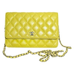 Chanel Lemon Lime Quilted Leather W/ Silver Tone Shoulder Chain Link Flap Wallet