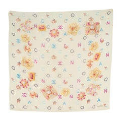 Chanel Letter-Print Silk Scarf One size