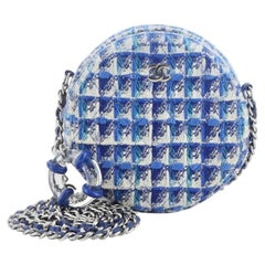 Chanel Lifesaver Round Clutch with Chain Quilted Tweed