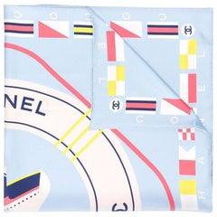 Chanel Light Blue 'CC Circle' Motif Print Scarf