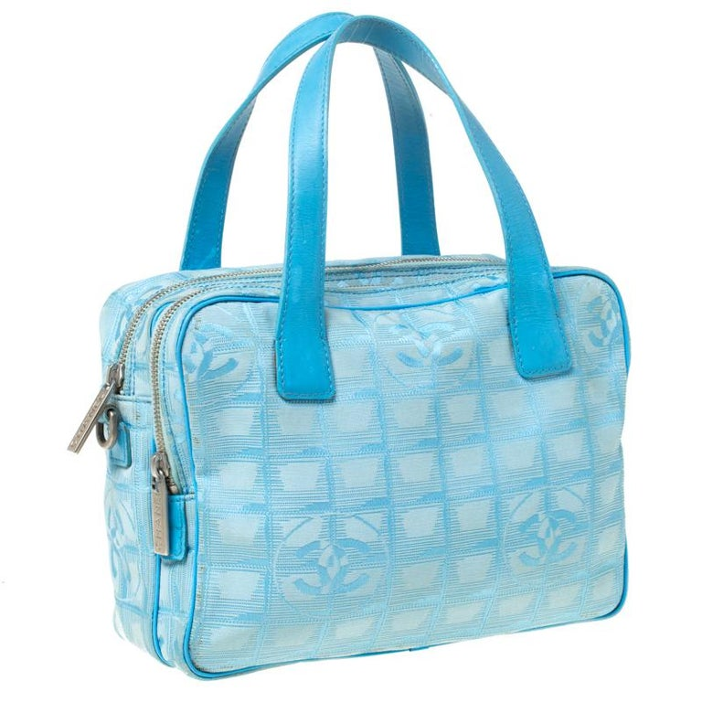 Chanel Light Blue CC Square Quilted Print Fabric Double Zip Bowler Bag In Good Condition For Sale In Dubai, Al Qouz 2