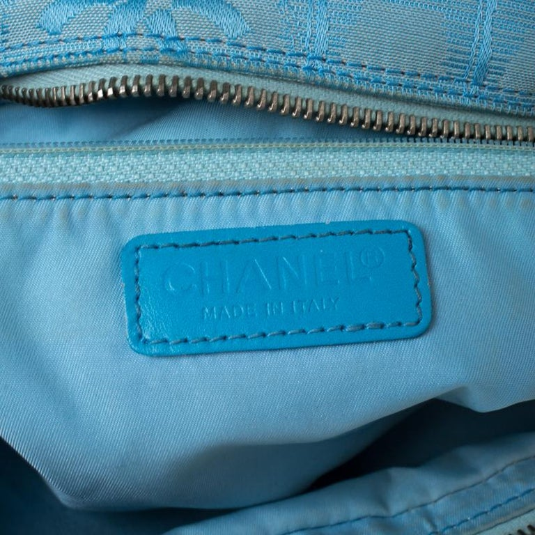 Chanel Light Blue CC Square Quilted Print Fabric Double Zip Bowler Bag For Sale 1