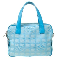 Chanel Light Blue CC Square Quilted Print Fabric Double Zip Bowler Bag