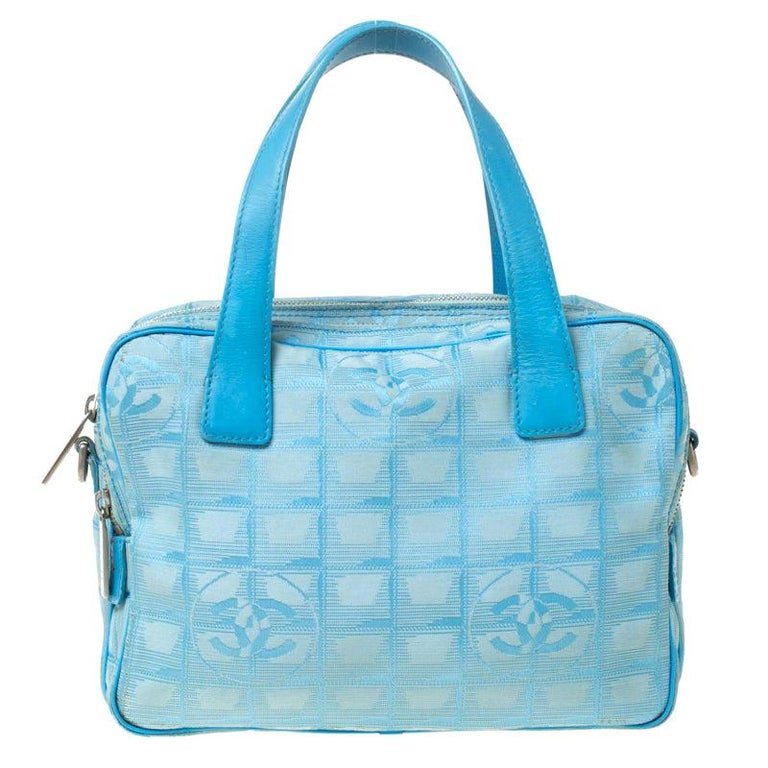 Chanel Light Blue CC Square Quilted Print Fabric Double Zip Bowler Bag For Sale