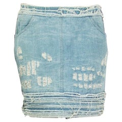CHANEL light blue DISTRESSED COTTON DENIM MINI Skirt 40 M