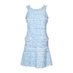 Chanel Light Blue Fantasy Tweed Dress With Scoop Neckline