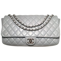 Chanel Light Blue Quilted Leather XL Maxi Classic Flap Shoulder Bag