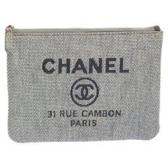 Chanel Light Blue Raffia Deauville Clutch