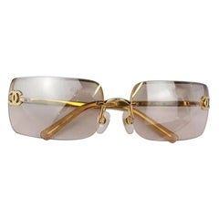 Chanel Light Brown Gold Crystal CC Color Tinted Rimless Kylie Sunglasses