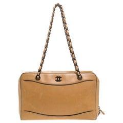 Chanel Light Brown Leather Resin Chain Medium Vintage Shoulder Bag