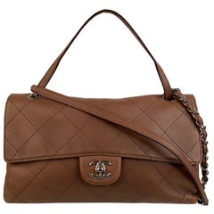 Chanel Light Brown Quilted Leather Embossed Stitch Flap Shoulder Bag