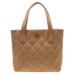 Chanel Light Brown Quilted Leather Wild Stitch Tote