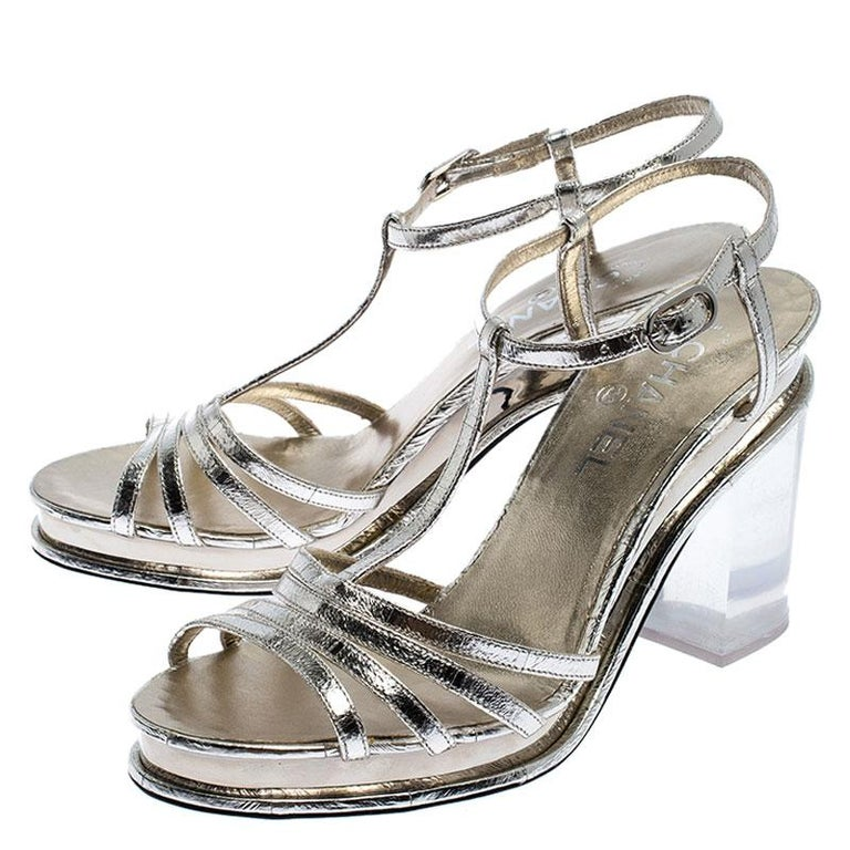 Gray Chanel Light Gold Metallic Strappy Leather Open Toe Platform Clear Heel Sandals  For Sale