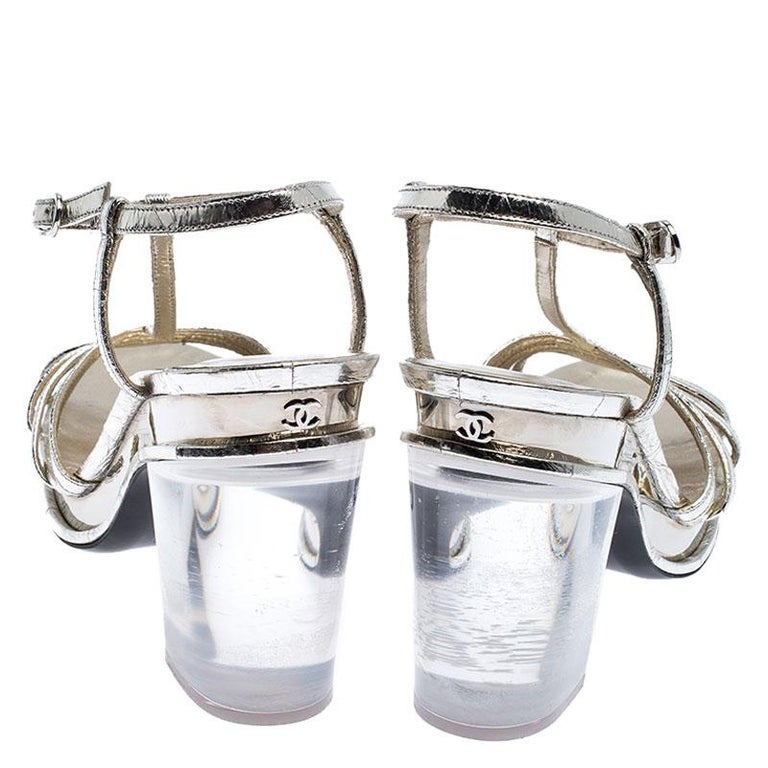 Chanel Light Gold Metallic Strappy Leather Open Toe Platform Clear Heel Sandals  In Good Condition For Sale In Dubai, Al Qouz 2