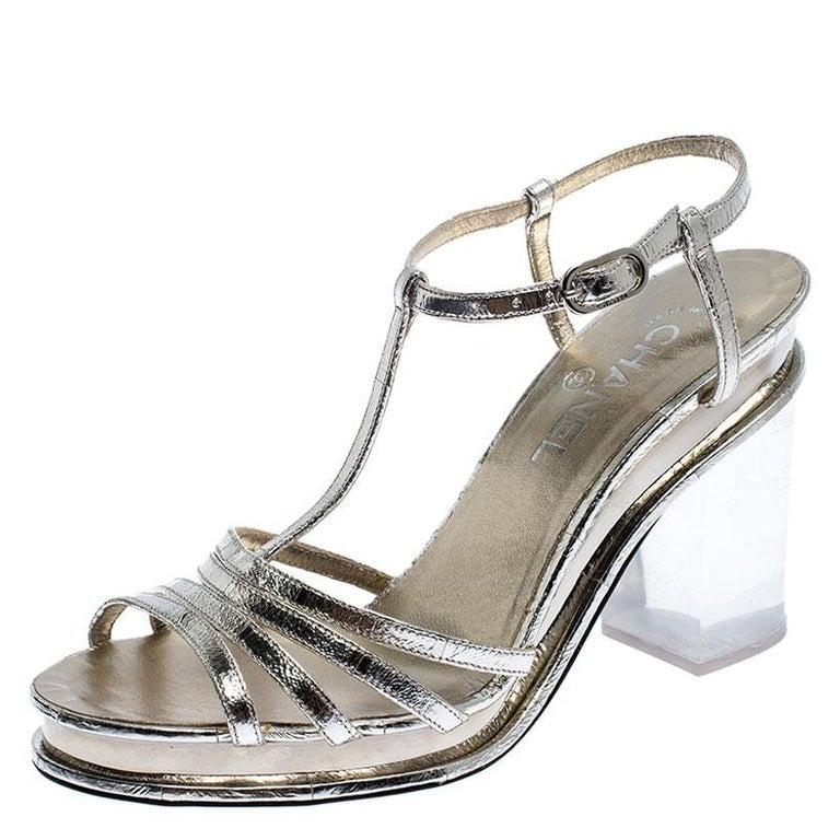 Chanel Light Gold Metallic Strappy Leather Open Toe Platform Clear Heel Sandals  For Sale 2