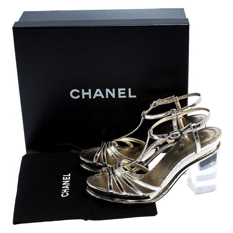 Chanel Light Gold Metallic Strappy Leather Open Toe Platform Clear Heel Sandals  For Sale 3