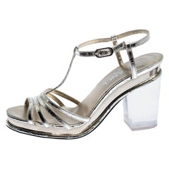 Chanel Light Gold Metallic Strappy Leather Open Toe Platform Clear Heel Sandals