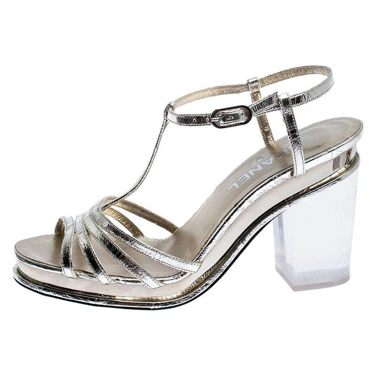 Chanel Light Gold Metallic Strappy Leather Open Toe Platform Clear Heel Sandals  For Sale